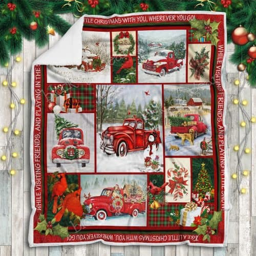 Take a little christmas with you red truck christmas sofa blanket 2