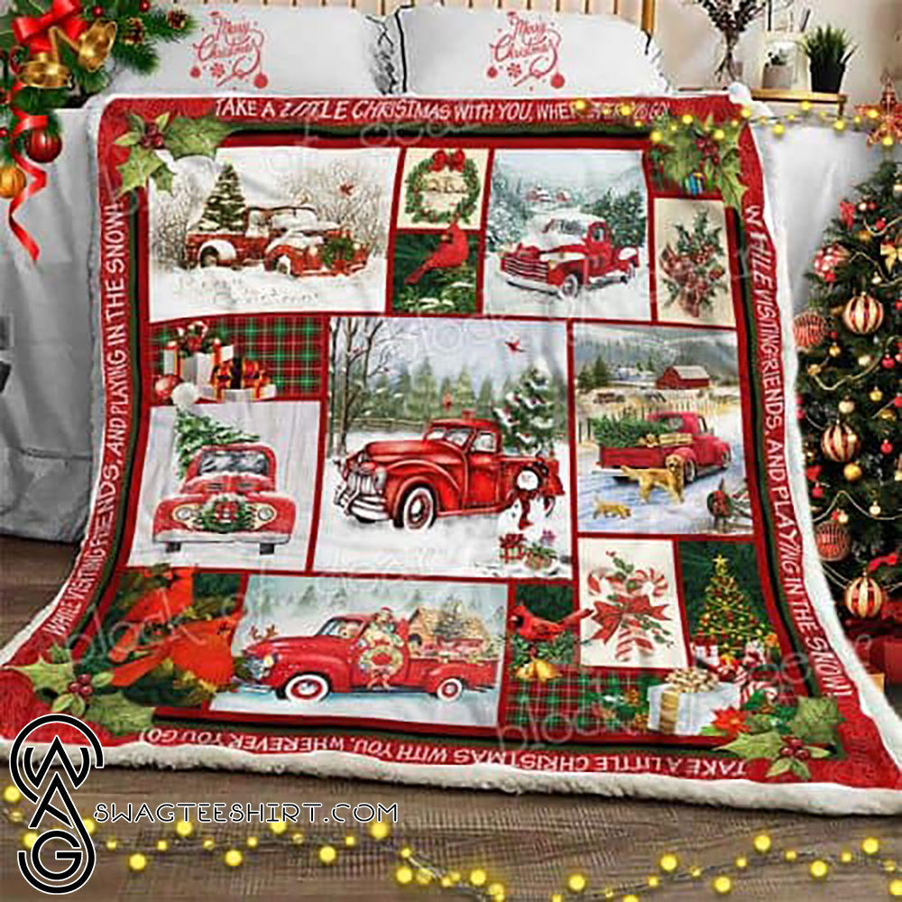Take a little christmas with you red truck christmas sofa blanket