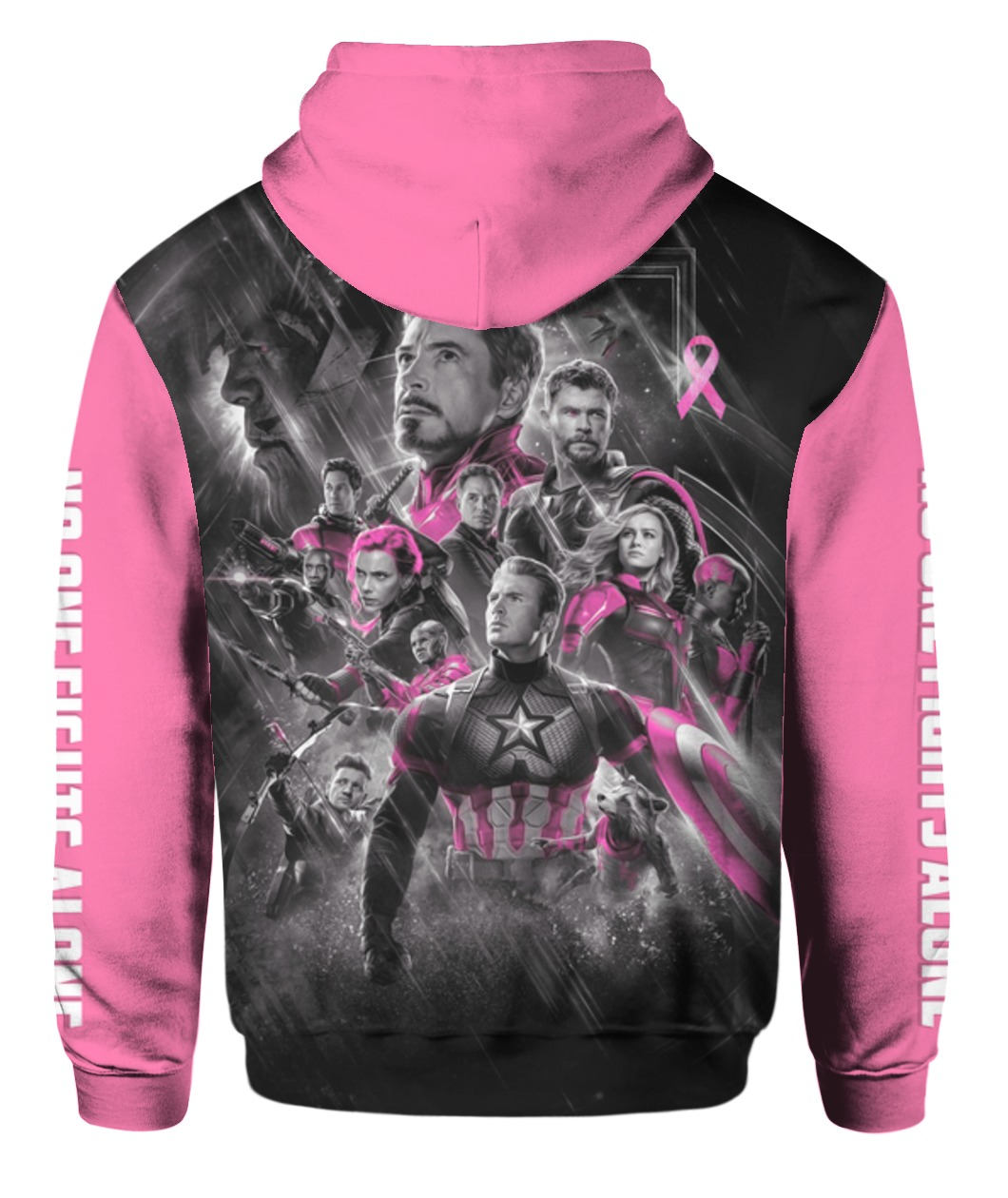 The avengers no one fights alone breast cancer awareness all over printed zip hoodie - back