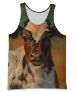 The beautiful cow all over print tank top