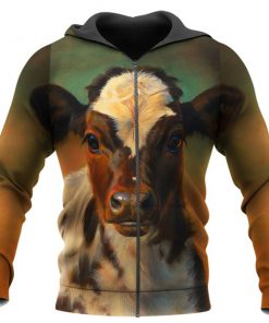 The beautiful cow all over print zip hoodie