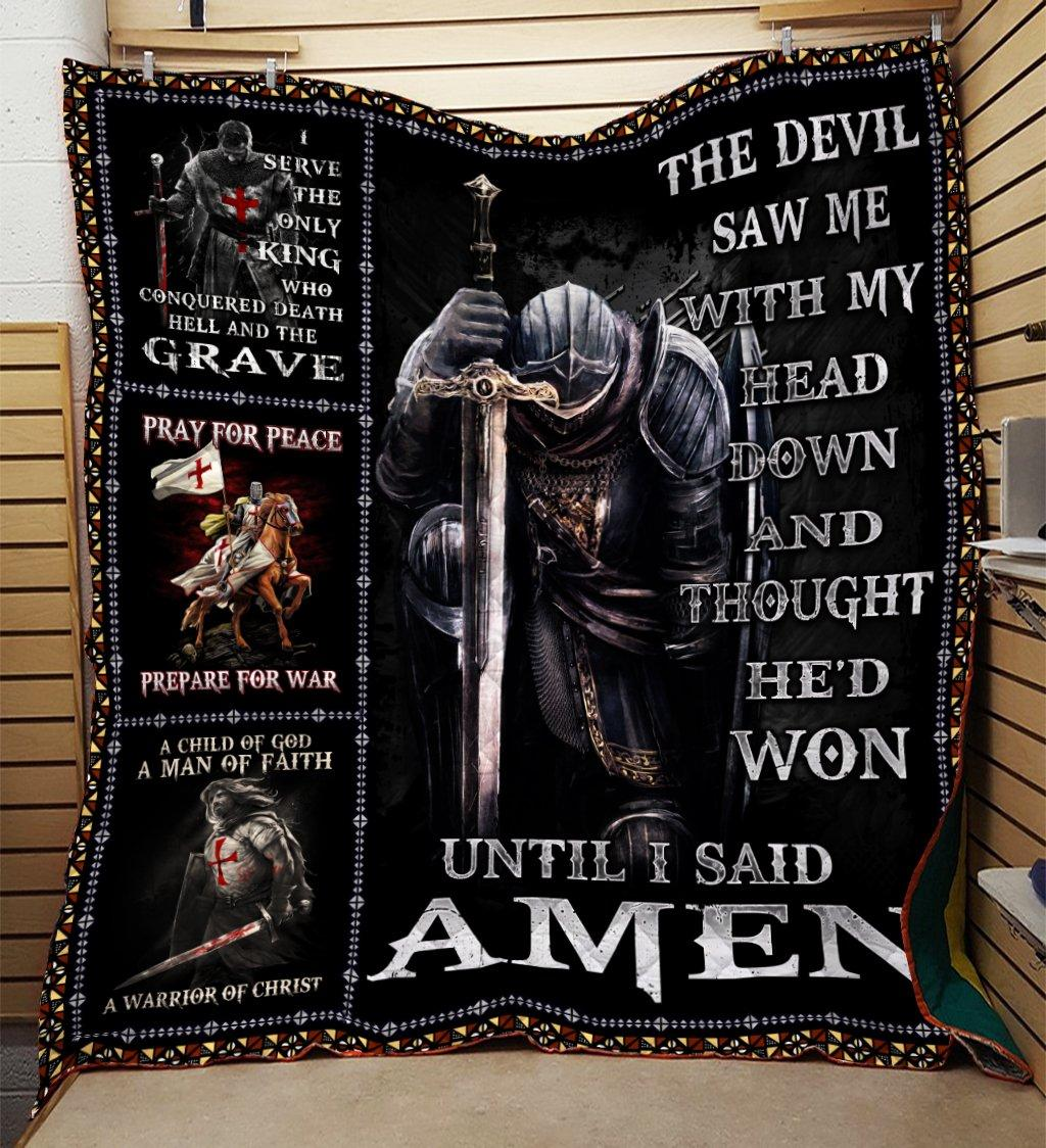 The devil saw me with my head down knight templar blanket - queen
