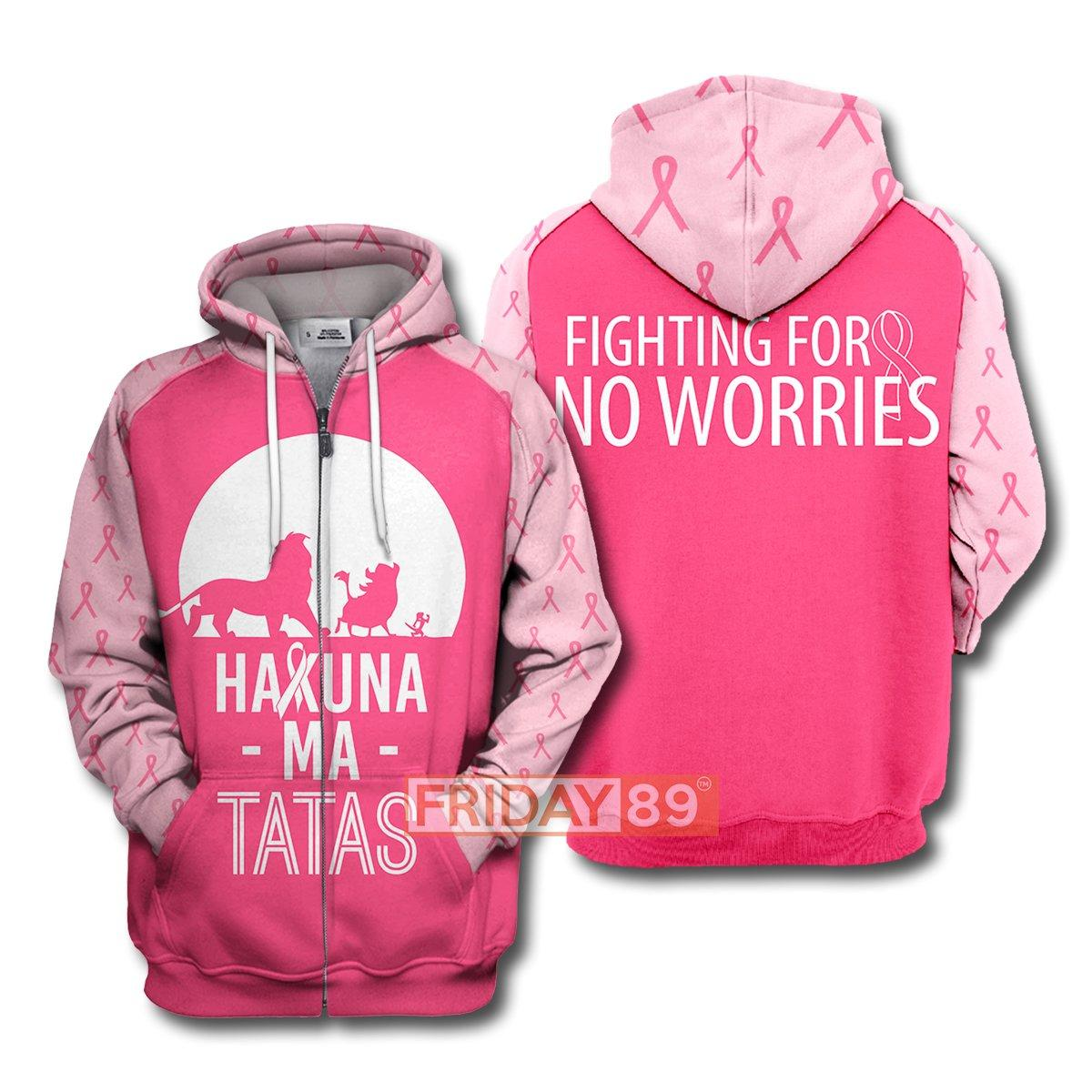 The lion king hakuna ma tatas breast cancer awareness 3d zip hoodie