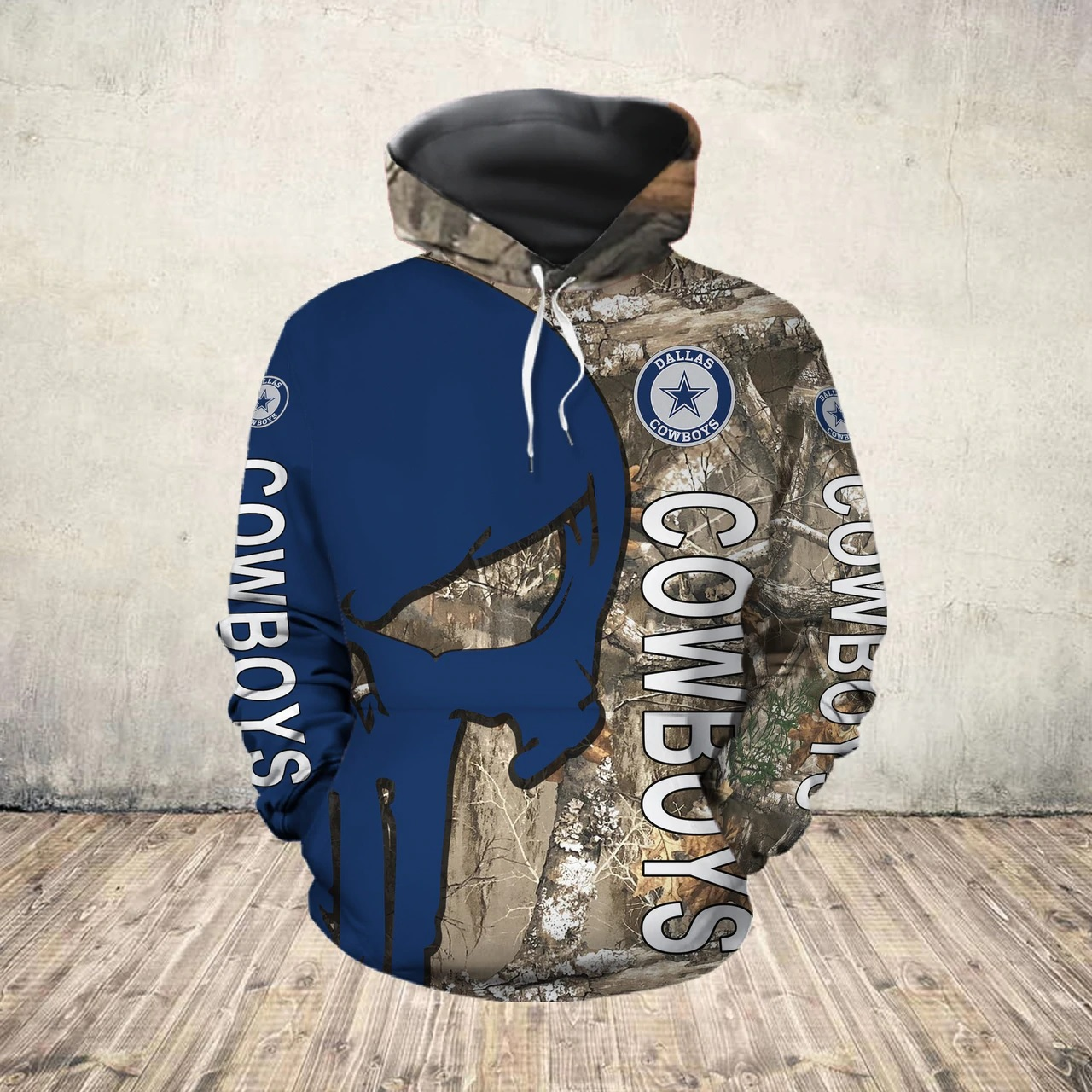 The punisher dallas cowboys all over print hoodie - front