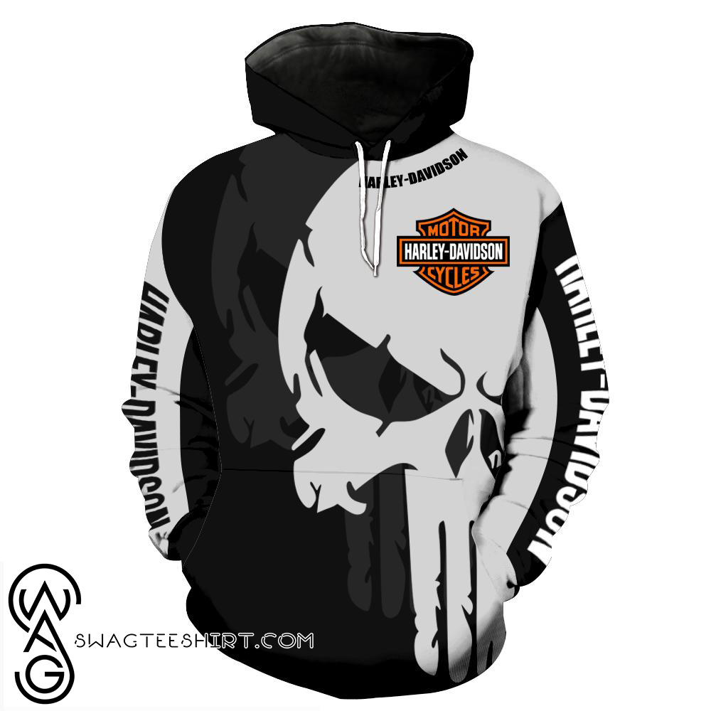 The punisher harley-davidson motorcycle all over print hoodie