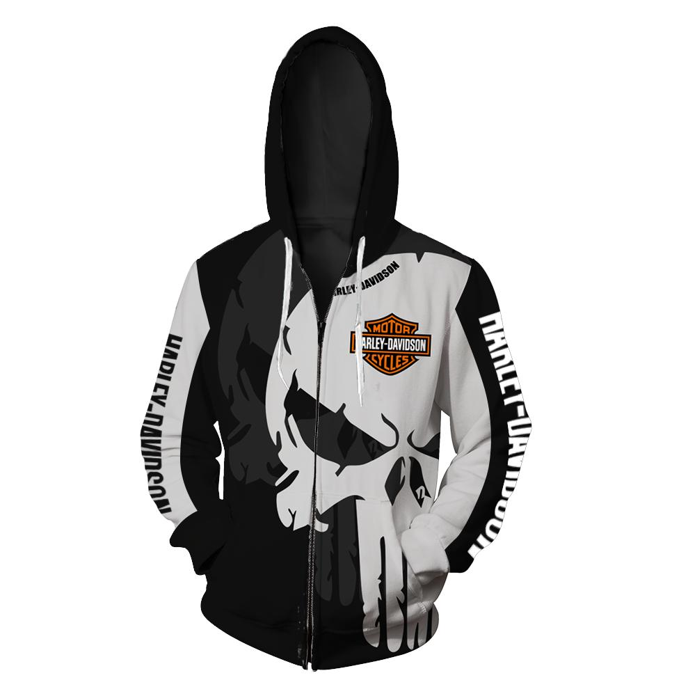 The punisher harley-davidson motorcycle all over print zip hoodie