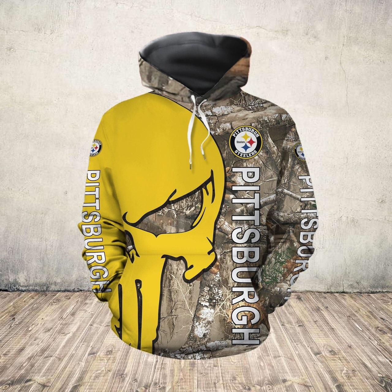 The punisher pittsburgh steelers all over print hoodie - front