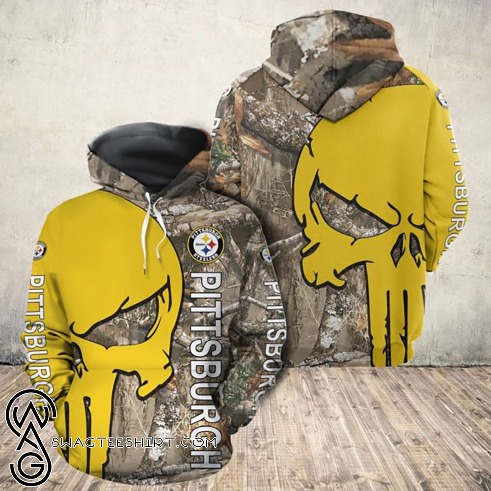 The punisher pittsburgh steelers all over print hoodie