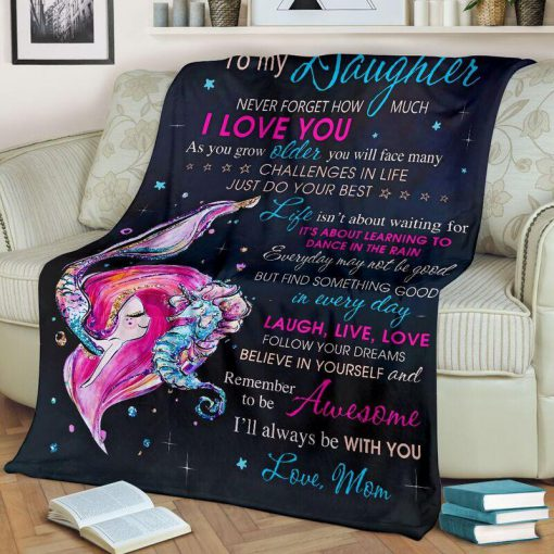 To my daughter never forget that I love you mermaid blanket - large