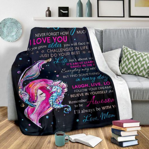 To my daughter never forget that I love you mermaid blanket - xlarge