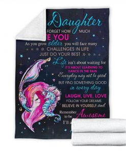 To my daughter never forget that I love you mermaid blanket - youth