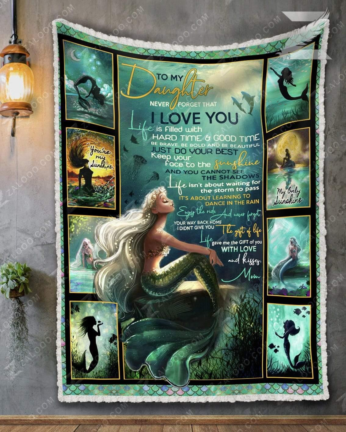 To my daughter never forget that I love you you are my sunshine mermaid blanket 5