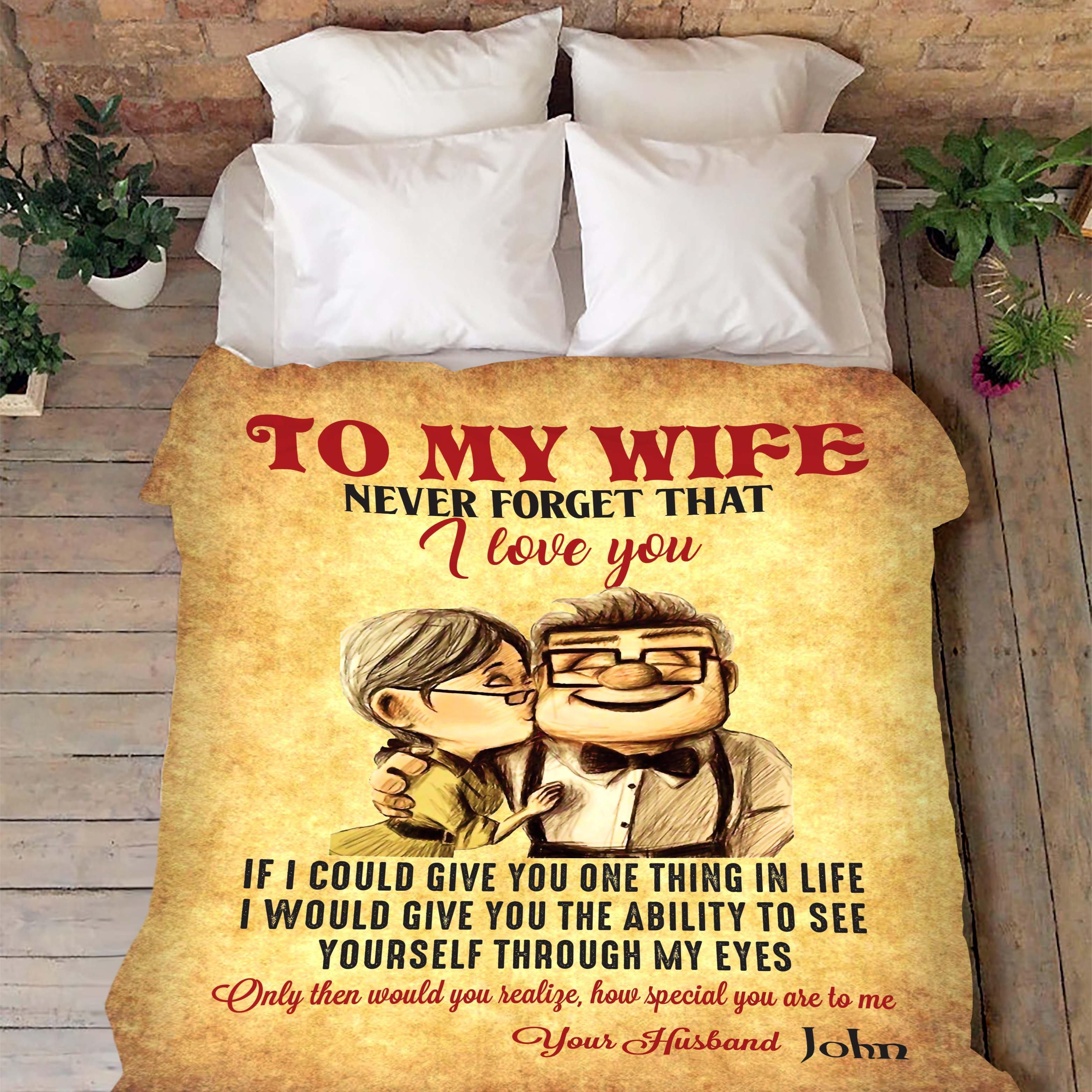 Up movie to my wife never forget that I love you blanket - size 60x80