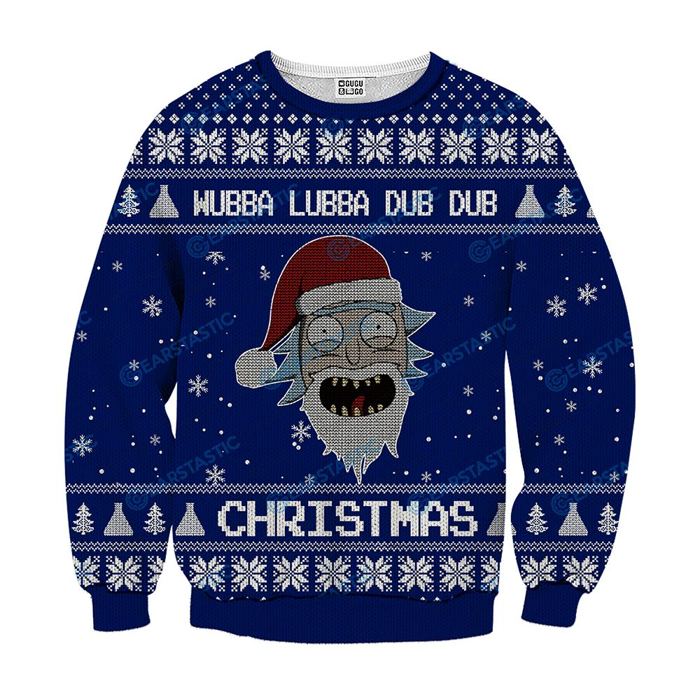 Rick And Morty Christmas Sweater.Wubba Lubba Dub Dub Joker Rick And Morty Ugly Sweater