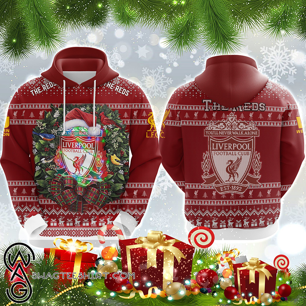 You'll never walk alone liverpool fc ugly christmas all over print hoodie