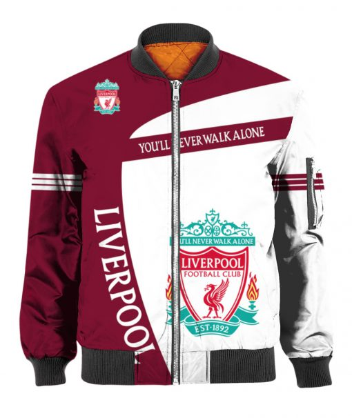 You'll never walk alone liverpool football club all over print bomber - front