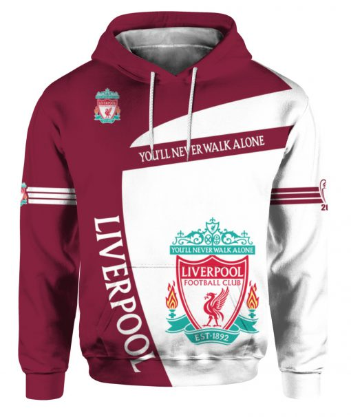 You'll never walk alone liverpool football club all over print hoodie - front