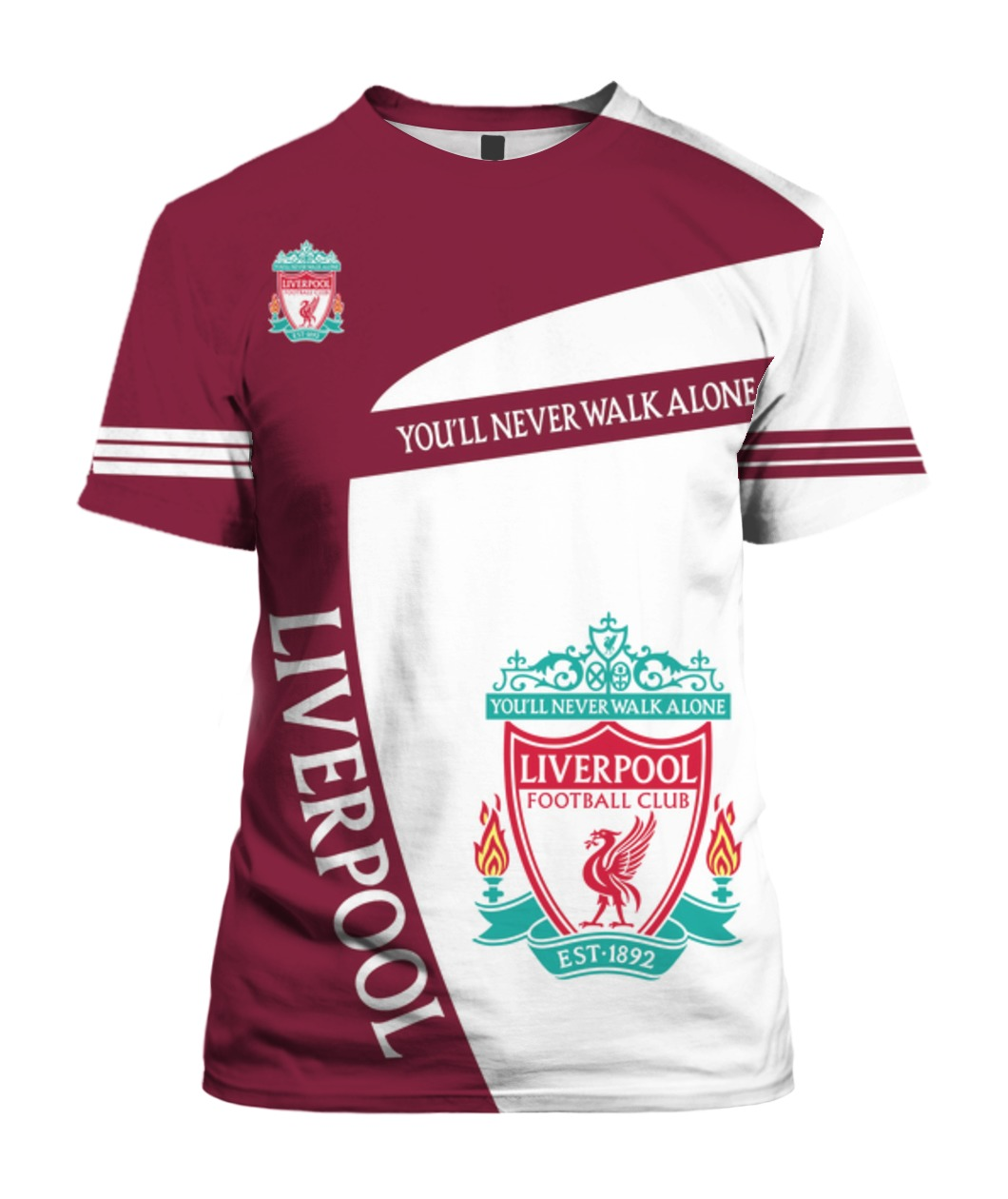 You'll never walk alone liverpool football club all over print shirt - front