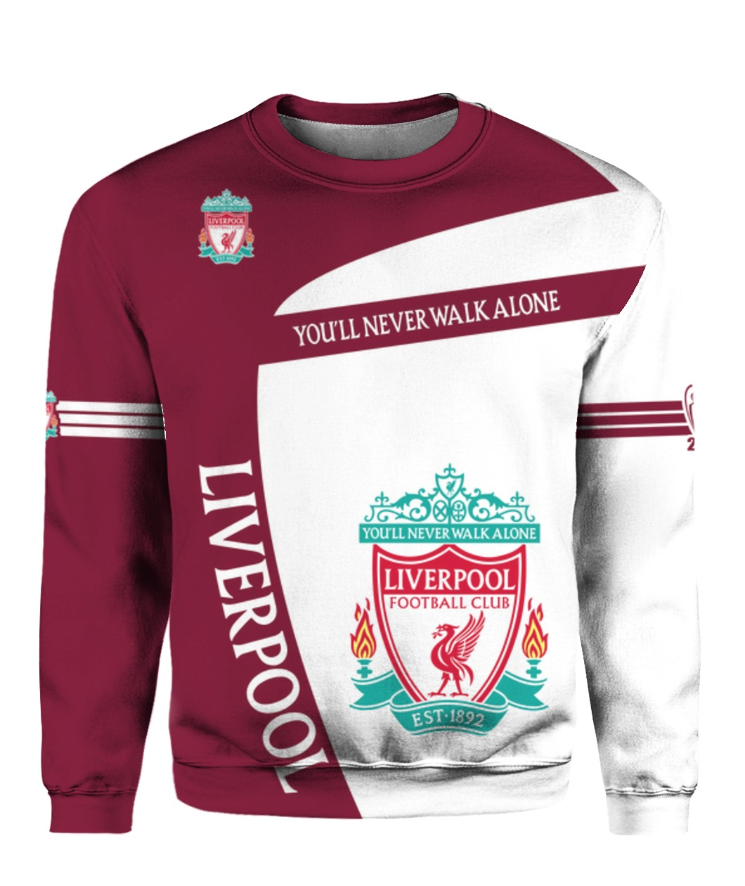 You'll never walk alone liverpool football club all over print sweatshirt - front