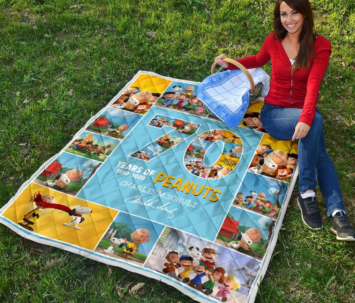 70 years of peanuts charles m schulz quilt 2