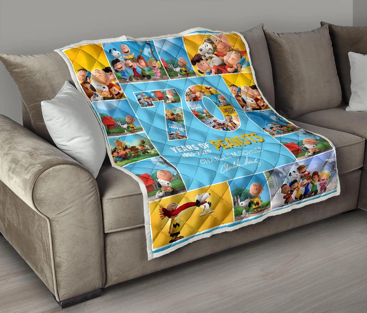 70 years of peanuts charles m schulz quilt 4
