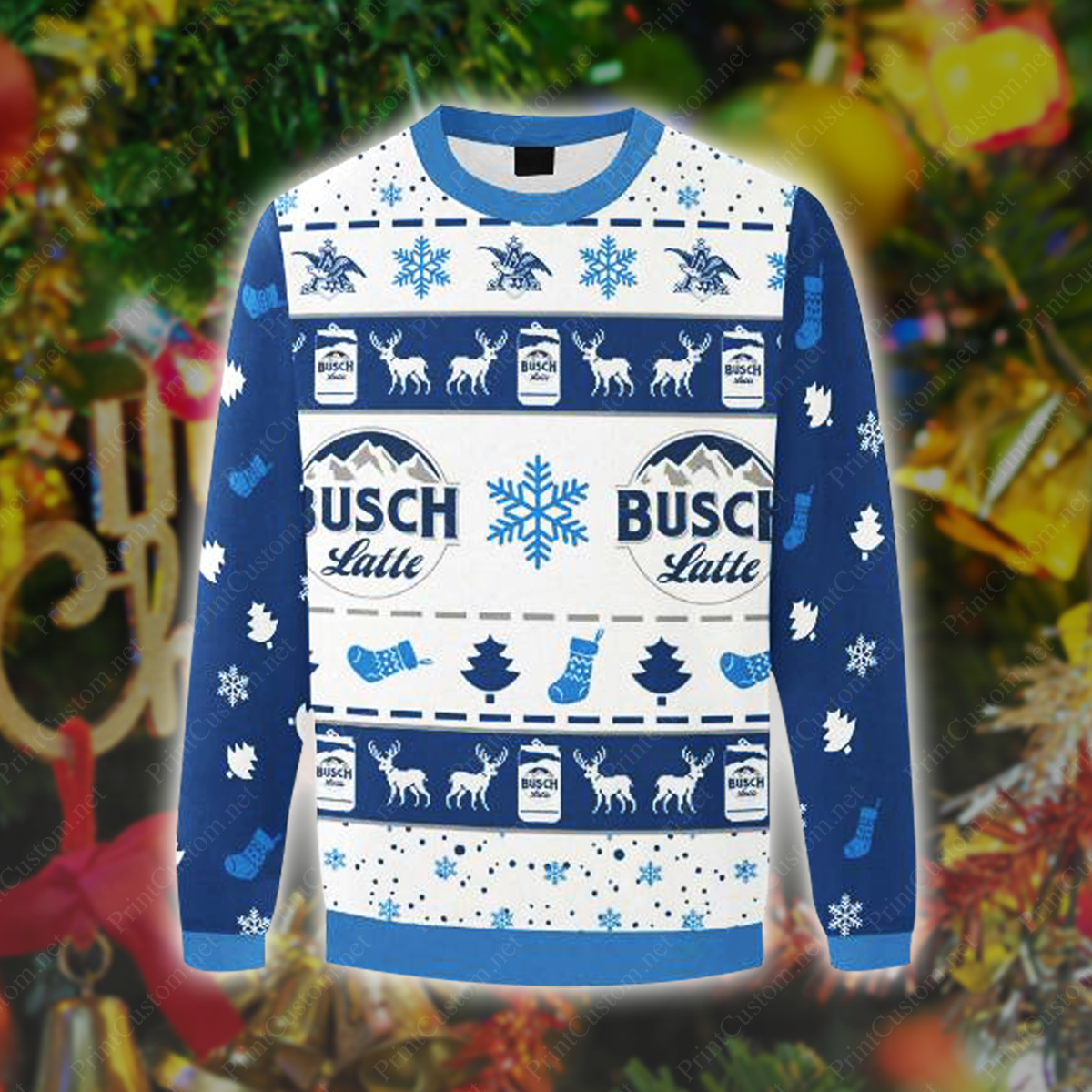 Beer Busch Latte 3d Ugly Christmas Sweater
