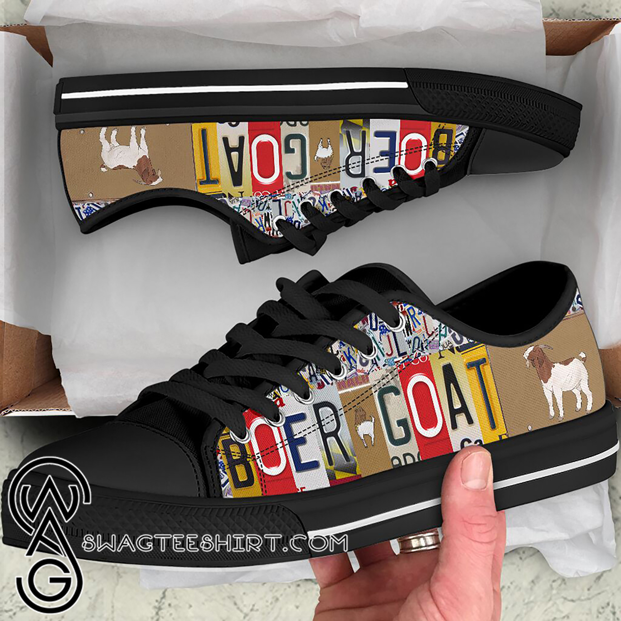 Boer goat license plates low top sneakers