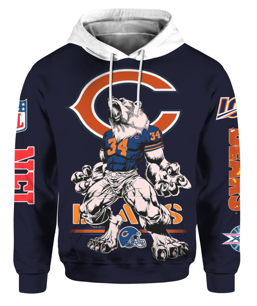 Chicago bears mascot all over print hoodie 1