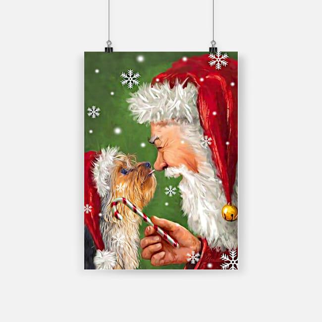Christmas boxer dog painting with santa poster 1