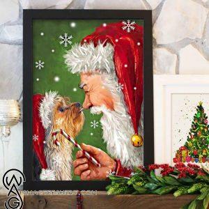Christmas boxer dog painting with santa poster