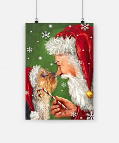 Christmas boxer dog painting with santa poster 4