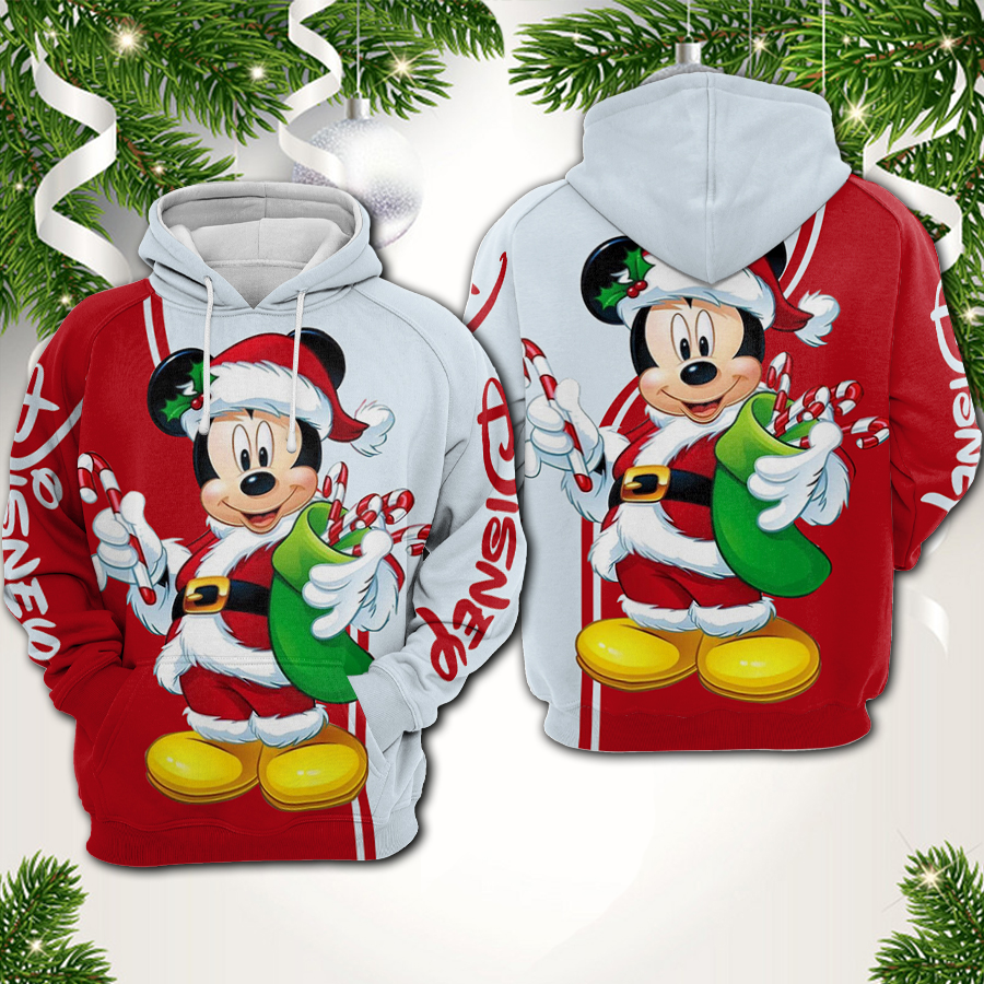 Christmas mickey mouse all over printed hoodie 1
