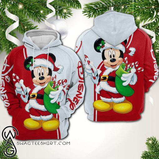 Christmas mickey mouse all over printed shirt