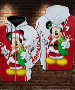 Christmas mickey mouse all over printed zip hoodie 1