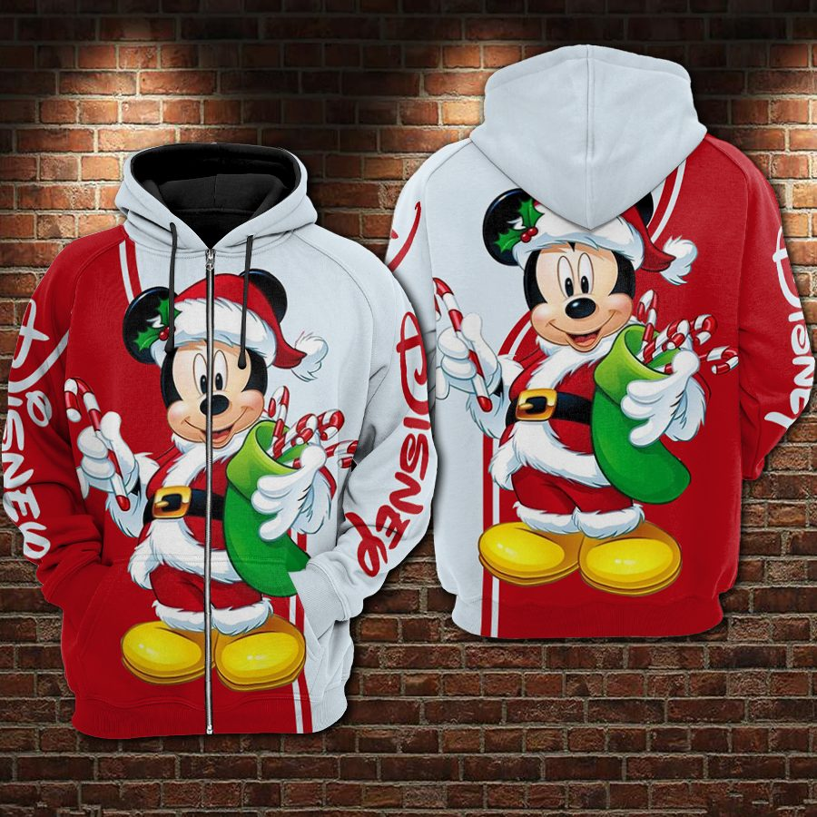 Christmas mickey mouse all over printed zip hoodie