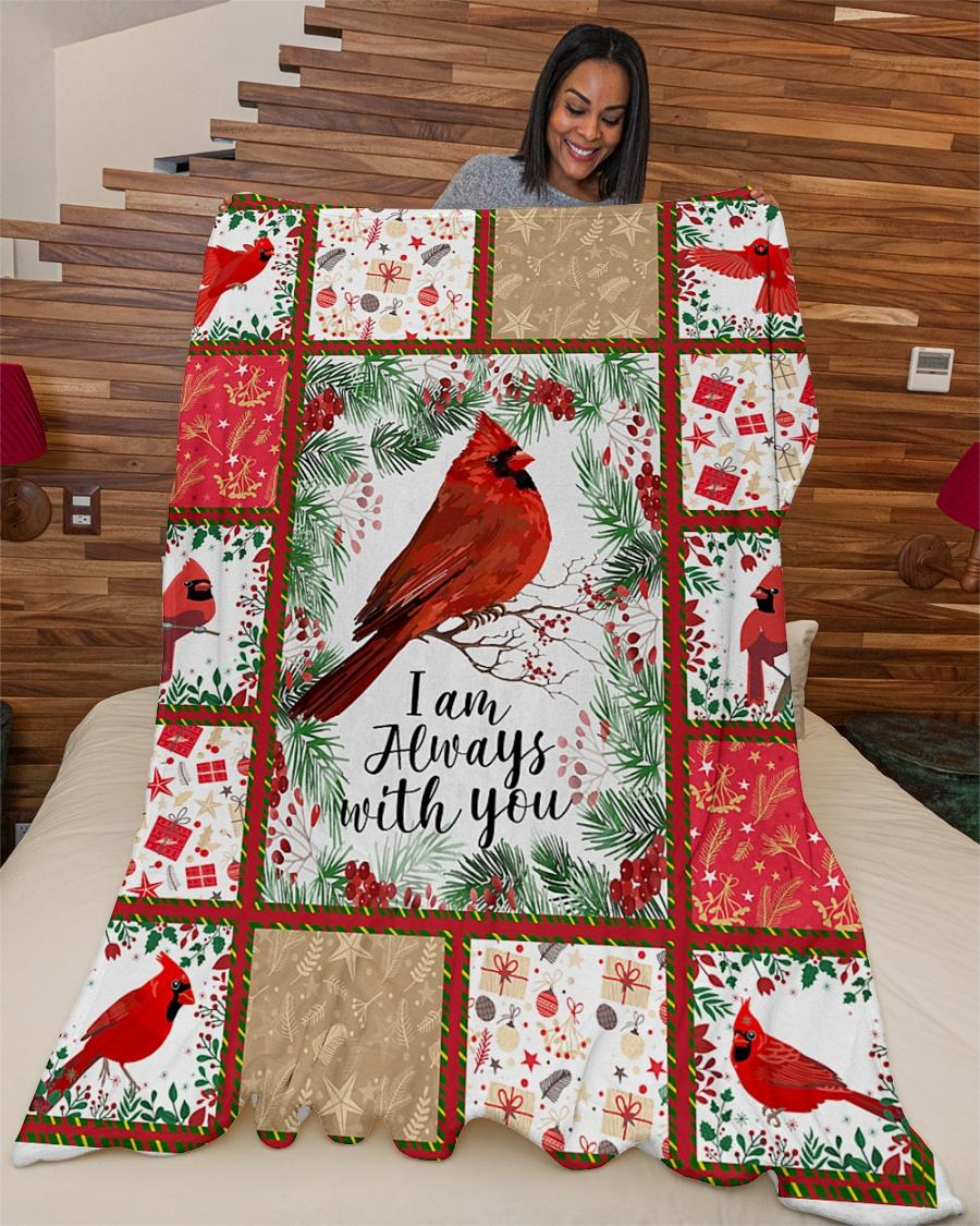 Christmas red cardinal i am always with you fleece blanket 2