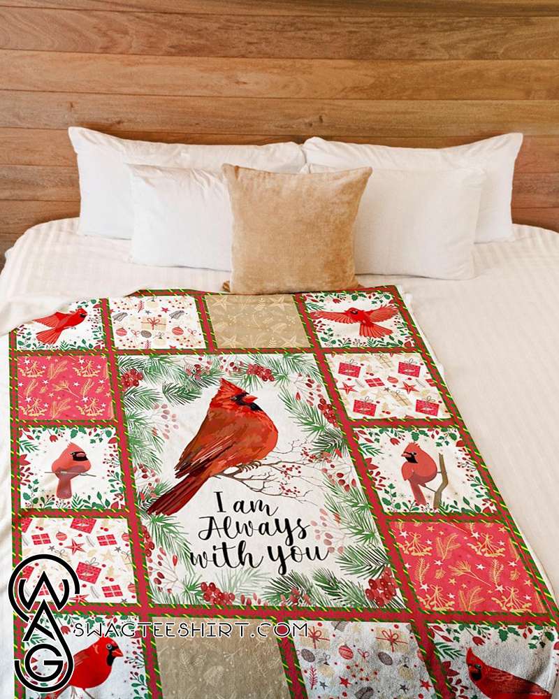 Christmas red cardinal i am always with you fleece blanket