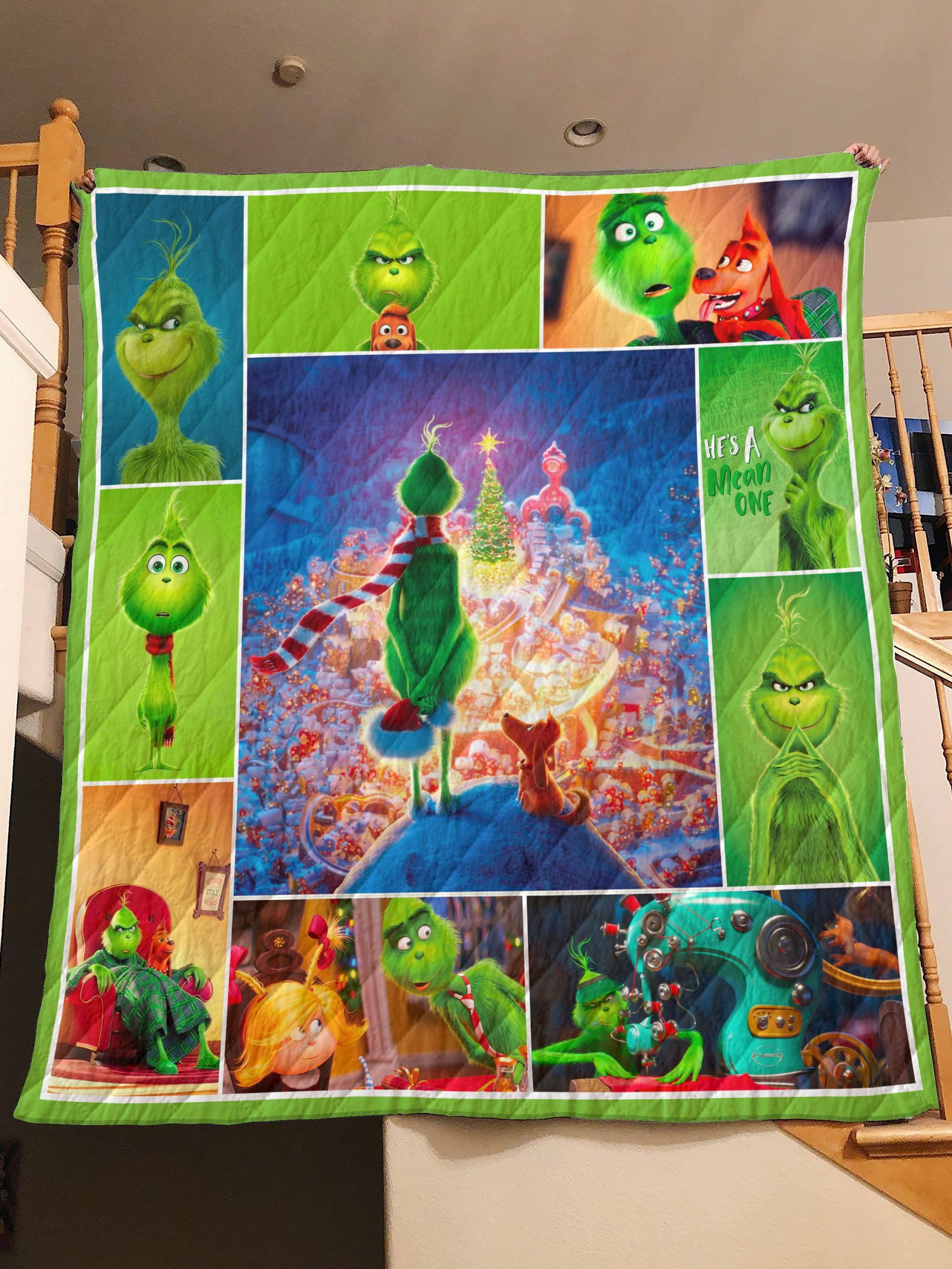 Christmas the grinch quilt 1