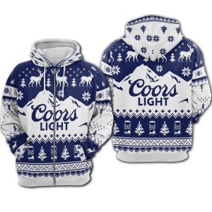 Coors light all over printed ugly christmas zip hoodie 1
