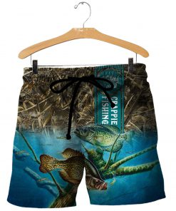 Crappie fishing all over printed shorts