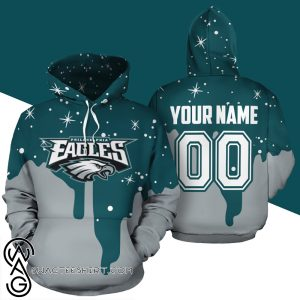 Custom name and number philadelphia eagles all over print shirt