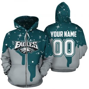 Custom name and number philadelphia eagles all over printed zip hoodie