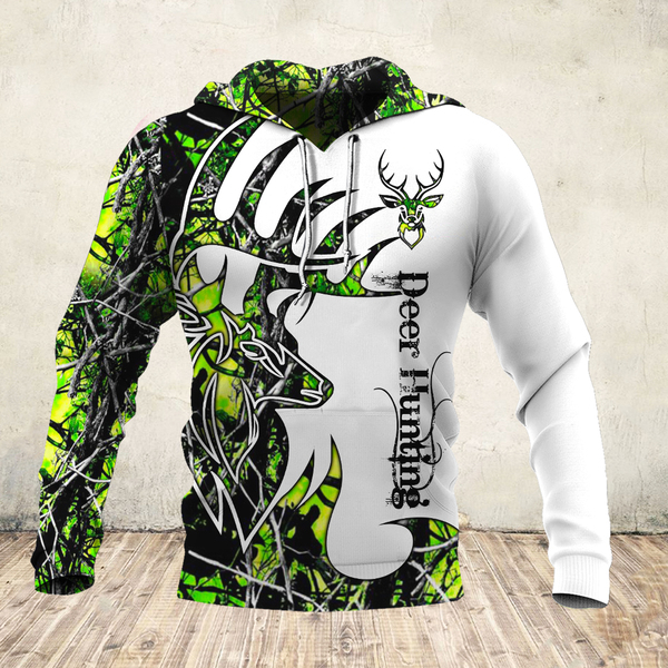 Deer hunter deer hunting neon all over print hoodie 1