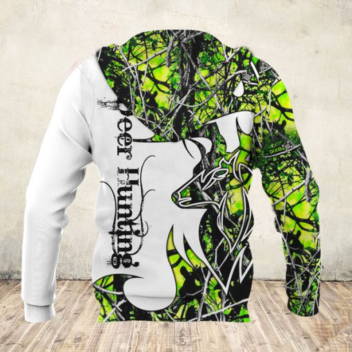 Deer hunter deer hunting neon all over print hoodie - back