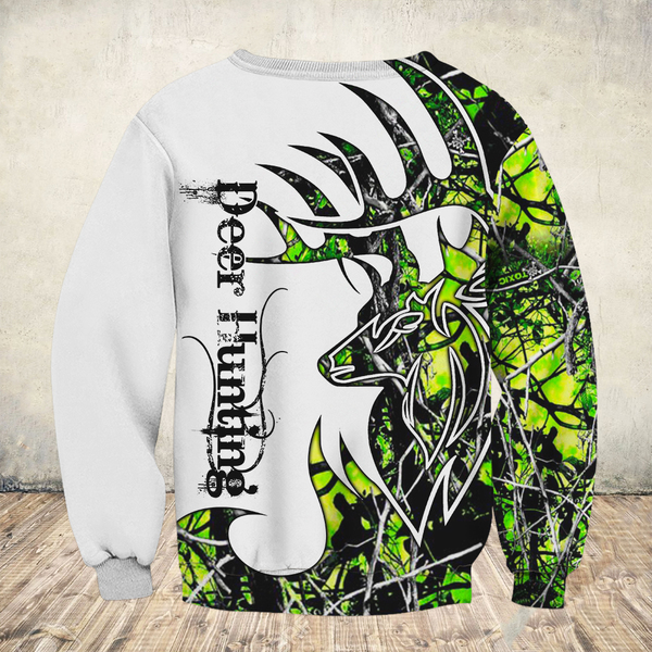 Deer hunter deer hunting neon all over print sweatshirt - back