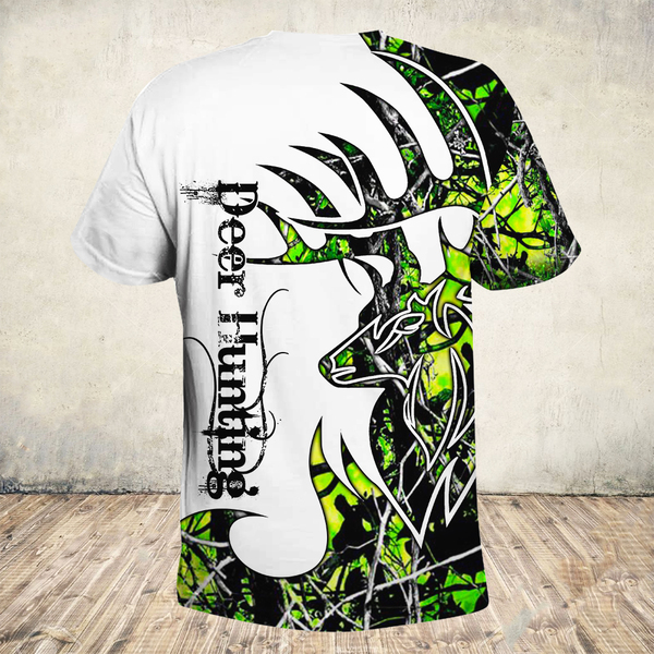 Deer hunter deer hunting neon all over print tshirt - back