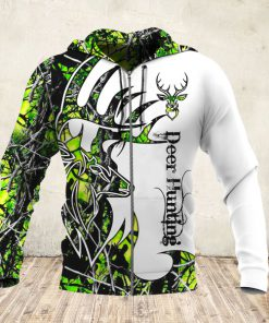 Deer hunter deer hunting neon all over print zip hoodie