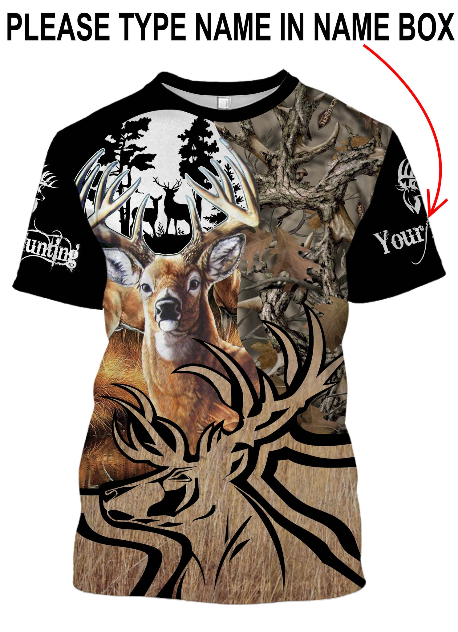 Deer hunting personalized full printing tshirt
