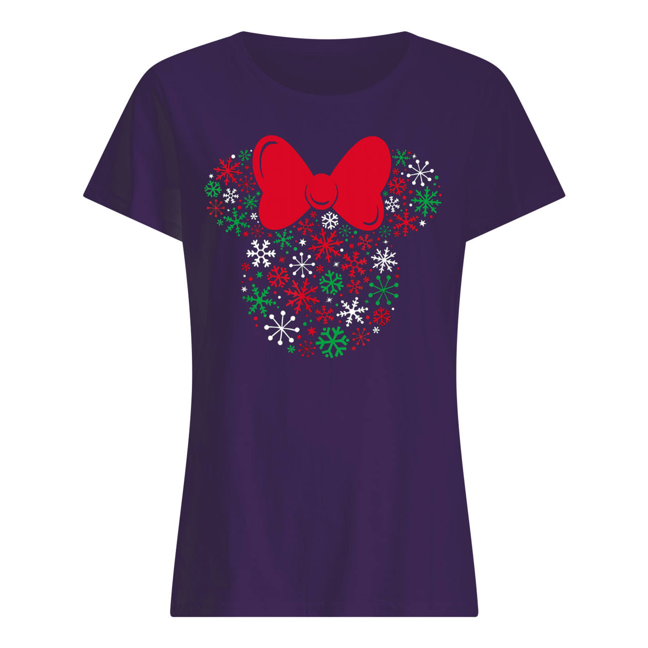 Disney minnie mouse icon holiday snowflakes womens shirt