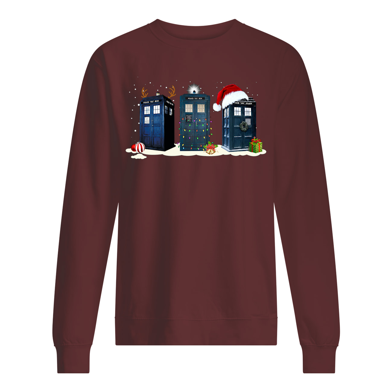 Doctor who tardis police box christmas sweatshirt